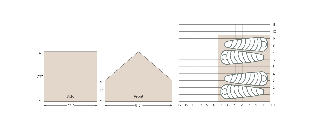 Canvas Wall tent dimensions illustration